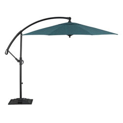 10-foot Round Juniper Free-arm Umbrella with Base - No deck is complete without an umbrella for relief from the sun. I love these free-arm umbrella stands that give you the option of using them over all areas of your deck space, not just your dining table.
