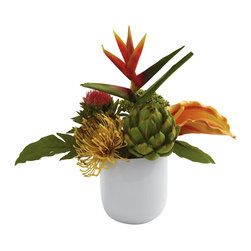 Nearly Natural - Tropical Floral Arrangement with White Glass Vase - The nice thing about tropical plants is you can really make some interesting combinations of the varying shapes and textures. This tropical floral arrangement is exactly that - a lush mix of colors and shapes that simply complement each other perfectly. Placed together in a beautiful white glass vase, this piece will become an immediate focal point wherever you place it. Makes a fine gift as well. Height: 14 In.; Width: 14 In.; Depth: 9 In.; Pot Size: H: 5.5 In. W: 4.75 In. D: 4.75 In.