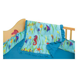 Room Magic - Tropical Seas Crib Set - Boys and girls will adore this tropical designer fabric swimming with seahorses, kissing fish, seaweed and starfish.  The 4 piece crib bedding set includes bumper, solid crib sheet, crib comforter (print on top, solid on bottom) and gathered print crib skirt in the finest 100% cotton.