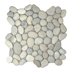 Pebble Tile Shop - Bali Cloud Pebble Tile - Pale pebbles, hand sorted for color, size and shape, make a special style statement in your decor — any surface, indoors or out. You couldn't find a lovelier alternative to tile if you beachcombed for it yourself!