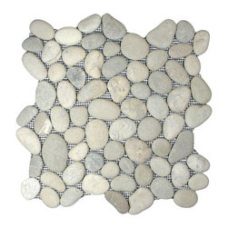 CNK Tile - Bali Cloud Pebble Tile - Pale pebbles, hand sorted for color, size and shape, make a special style statement in your decor — any surface, indoors or out. You couldn't find a lovelier alternative to tile if you beachcombed for it yourself!