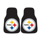 Fanmats - Fanmats Pittsburgh Steelers 2-piece Carpeted Nylon Car Mats - A universal fit makes this two-piece mat set ideal for cars, trucks, SUVs and RVs. The officially licensed Pittsburgh Steelers design in true team colors is made of nylon for longevity.