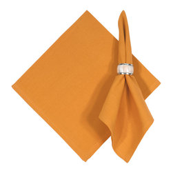 Traders and Company - Hand Woven Solid Melon Orange Napkins, Set of 6 - Imported hand-loomed 100% cotton napkins add a mark of color and elegance to your dining table. Napkin ring not included. Machine washable with similar colors in cold water, and cool dry. Made in India.
