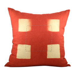 BZDesign - Red Hand Embroidered Linen Pillow - This simply elegant linen pillow will easily fit into any contemporary setting!