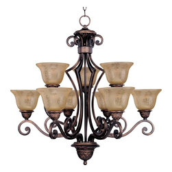 Maxim Lighting - Maxim Lighting Symphony 2 Tier Chandelier in Oil Rubbed Bronze - Shown in picture: In either Screen Amber or Soft Vanilla Glass - the sharp angles of the Oil Rubbed Bronze body modernizes and inspires.