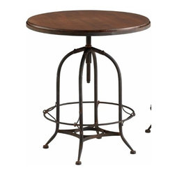 Round Raw Wood and Steel Industrial Adjustable Table - *Lucca Chair