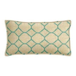 "Cushion Source - Sunbrella Accord Jade Outdoor Lumbar Pillow - The 20"" x 12"" Sunbrella Accord Jade Outdoor Lumbar Pillow features a canvas textured lattice print in turquoise on a beige background."
