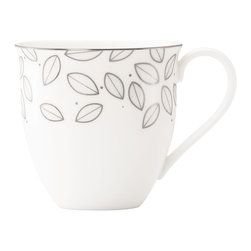 Lenox - Lenox Platinum Leaf 4-piece Mug Set - Crafted of Lenox white-bodied china accented with platinum, this set of four Platinum Leaf mugs will bring a fresh new look to your table. Dangling from the rim of each mug are dozens of stylized leaves, as if hanging from the limbs of trees.