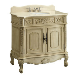 "Benton Collection - 36"" Antique White Belleville Bathroom Sink Vanity - This 36"" light color finish Belleville Bathroom Vanity has a traditional antique look with ornate molding throughout. Center cabinet doors open to large interior storage with one shelf. The trim and the  scrolls motif display exquisite beauty, with outward Victorian style feet and deep cut decorative base, the beauty stands out. It is a piece anyone would fall in love with."
