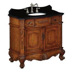 """Belle Foret - Belle Foret 36 Single Basin Vanity with Black Granite Top, Medium Oak (BF80031R) - Belle Foret BF80031R 36"""" Single Basin Vanity with Black Granite Top, Medium Oak"""