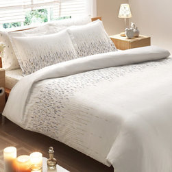 Grandin Road - Bamboo Cascade Comforter - Designer comforter and pillow shams set with a soothing abstract motif. Set includes one comforter and two flanged pillow shams. Made in Turkey from 100% bamboo rayon. 250 thread count twill weave. Comforter features a down alternative fill with an 8 oz. fill weight. Turn your guest or master bed into a restful retreat with the Cascade patterned bamboo rayon comforter set. The crisp, woven twill features a soothing motif that recalls abstract flowers or falling rain. Set includes a light and lofty comforter with down alternative fill and two flanged pillow shams, woven from breathable and durable rayon from bamboo.. . . . . Machine wash, cold. Tumble dry, low; remove from dryer immediately to avoid wrinkles.
