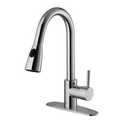 Vigo - VIGO Single-Handle Chrome Pullout-Spray Kitchen Faucet with Deck Plate - Modernize your kitchen with this chrome kitchen faucet with sprayer. Featuring a dual pull-out spray head,a retractable spout,and a convenient lever handle,this 17.5-inch faucet has a corrosion-resistant finish to ensure its beauty and longevity.