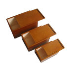 Nested Gift Packing Wooden Boxes - Nested Wooden Gift Boxes are made of pine wood with paint finishes. Inside of boxes are natural.