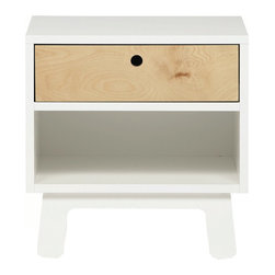 Oeuf - Oeuf Sparrow Nightstand in White - Completing the Sparrow suite, Oeuf offers The Sparrow Nightstand. In solid birch offset by one of the subtle Sparrow colors, the nightstand is one of your child's first real pieces of furniture, and a perfectly matched addition to the set.