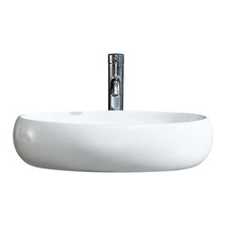 Fine Fixtures - Fine Fixtures White Vitreous China Bulging Oval Vessel Sink - Bring added elegance to your bathroom with this Fine Fixtures modern vessel sink.  A welcoming addition to any bathroom or powder room, constructed of durable and stain resistant vitreous china, this round sink features sleek beveled sides and its rounded appearance provides it with a modern, fresh look. Its simple yet fashionable design is sure to leave a lofty impression on your bathroom.