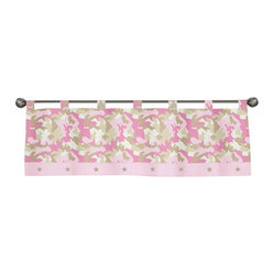 Sweet Jojo Designs - Pink Camouflage Valance - The Pink Camouflage Valance by Sweet Jojo Designs is a gorgeous window treatment that will add a designer's touch to any nursery. This valance softens the look of the window and obscures pulled up blinds. It will coordinate nicely with your Sweet Jojo Designs bedding or can be used as an accent with your own room design.