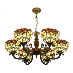 ParrotUncle - 6 Lights Vintage Tiffany Ceiling Lighting Chandelier - 6 Lights Vintage Tiffany Ceiling Lighting Chandelier