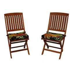 Blazing Needles - All-Weather UV-Resistant Outdoor Folding Chair Pads (Pack of Two) - Bring style, practicality, and charm to any outdoor setting with these colorful square outdoor chair pads. A black background accentuates the vibrant red and tan design. These durable chairs have UV protection and are Weather resistant.