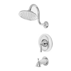 """Pfister - Pfister R89-8GLC Polished Chrome Saxton Saxton Single Handle Tub and - Saxton Single Handle Tub and Shower Trim PackageThe popular transitional theme is alive and well in PfisterÂ's Saxton collection of bath faucets and fixtures. Sleek lines and sweeping curves help define this versatile family, while brass construction gives it a sturdy look and feel.Your bathroom isnÂ't complete without a fixture for your tub and/or shower. The Saxton collection features Roman tub fillers (complete with optional handspray) as well as single-handle tub and shower fixtures with Rain Can showerhead. Look for these fixtures in three finish options.Trim package for tub and shower applications (Valve sold separately)Includes rainshower shower headIncludes shower arm and shower arm wall flangeIncludes 1 metal lever handle with wall plate (escutcheon)Includes diverter tub spoutAll brass construction - Weight: 1.82 LBSADA CompliantShower head height: 3.1563"""" (measured from face to top of shower head)Shower head width: 3.1563"""" (measured across the face of the shower head)Shower head flow rate: 2.5 gallons-per-minuteDesigned for use with standard US plumbing connectionsAll necessary mounting hardware included (Does not include valve)5"""" IP threaded metal diverted tub spoutFully covered under Pfister s Pforever Lifetime WarrantyAbout PfisterFounded in 1910, Pfister (previously known as Price Pfister) is one of AmericaÂ's oldest and most experienced plumbing companies. As the first faucet manufacturer in the world to offer a lifetime warranty on their products, quality has always been the cornerstone of Pfister faucets. Brass bodies, ceramic disc valves, and lifetime PVD finishes name a few of the features youÂ'll find in their product line. You will also find innovative designs. In the last 100 years, Pfister pioneered many of the faucet varieties that have helped to define the indu"""