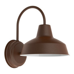 Austin Wall Sconce - Classic, conventional barn light for your home. The Austin Sconce has a mini warehouse shade and compact wall mount perfect for indoor and outdoor use!