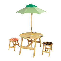 Teamson Design - Teamson Kids Sunny Safari Outdoor Table and 2 Chairs Set - Teamson Design - Kids' Table and Chair Sets - TD0030A. Our New Outdoor Collection Sunny Safari Table and Chair set is perfect for any child to have their favorite meal on, enjoy a snack, play their favorite board/card game or just enjoy the sunny weather. The best part is that not only is the Umbrella water proof and UV proof but also the unique finish on this wood allows the table and chairs to be used outdoors.