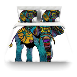 """Kess InHouse - Pom Graphic Design """"Elephant of Namibia"""" Cotton Duvet Cover (Queen, 88"""" x 88"""") - Rest in comfort among this artistically inclined cotton blend duvet cover. This duvet cover is as light as a feather! You will be sure to be the envy of all of your guests with this aesthetically pleasing duvet. We highly recommend washing this as many times as you like as this material will not fade or lose comfort. Cotton blended, this duvet cover is not only beautiful and artistic but can be used year round with a duvet insert! Add our cotton shams to make your bed complete and looking stylish and artistic! Pillowcases not included."""