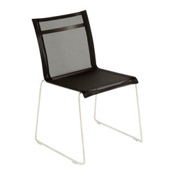 Control Brand - The Dynamic Side Chair - The Dynamic Side Chair is crafted with stainless steel legs in chrome finish. The back and seat of this chair is made of composite sling outdoor fabric for luxury comfort. This contemporary furniture piece is suitable for indoor and outdoor use.