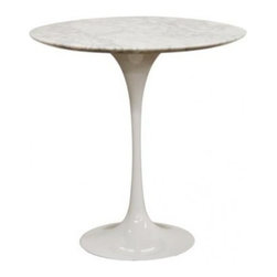 Wholesale Interiors Immer White Marble Midcentury-style End Table - This midcentury-inspired end table combines the perfect amounts of style, quality and simplicity. The heavy marble top and steel base make it extremely sturdy.
