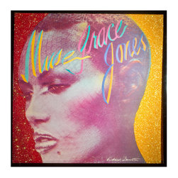 """Glittered Grace Jones Muse Album - Glittered record album. Album is framed in a black 12x12"""" square frame with front and back cover and clips holding the record in place on the back. Album covers are original vintage covers."""