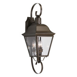 Progress Lighting - Progress Lighting P5689-20 Andover 3 Light Outdoor Wall Lights in Antique Bronze - The Andover collection three-light large wall lantern with solid brass construction, offers a mixture of traditional and country style for a variety of applications. Beveled glass panels allow optimum brightness. Hinged door for easy relamping.