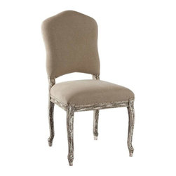 """Aidan Gray - West Dining Chair by Aidan Gray - With slight curves and minimal carving, the West Dining Chair by Aidan Gray is the perfect canvas for the stripped white finish. It's Birch frame is hand-carved, painted and distressed meticulously to sustain its hemp-covered seat. Flanking a dining table, the eclectic flavor of this French flavored chair will create a welcoming palette. 20"""" w. x 20"""" d. x 40""""h."""