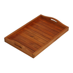 Bare Decor - Vivi Spa/ Serving Tray in Solid Teak Wood - The Vivi rectangular serving tray is as versatile as it is beautiful in a teak oiled finish. Use this on a large ottoman as a coffee table or a serving tray for your outdoor needs with its easy grip handles. Can also be used as a display for towels and spa toiletries in residential or commercial spaces. Made of responsibly harvested solid teak wood (tectona grandis), it is naturally resistant to mold and mildew and is outdoor friendly.