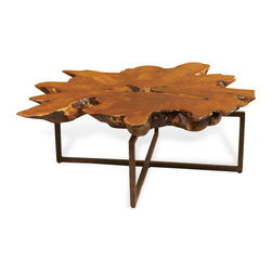 Kathy Kuo Home - Harrer Rustic Lodge Teak Root Iron Abstract Coffee Table - As rustically unique as the room it embraces, this naturally gorgeous teak wood table will be the talk of your party. Each one-of-a-kind sculpture has its own grain patterns and patina, complementing the textured iron base and the serene surroundings.