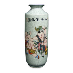 China Furniture and Arts - Hand Painted Porcelain Vase - Jingdezhen has been the capital of porcelain in China for more than two thousand years. The artists there reached artistic and firing technique maturity by Jin Dynasty around 583 AD. Throughout history, products from Jingdezhen kilns were the official source of porcelain for the court. Well-known for its signature fine smooth surface, our vase features hand-painted calligraphy and a scene depicting children at play as a focal point. The light background tone reflects serenity and calmness tying the entire composition together.
