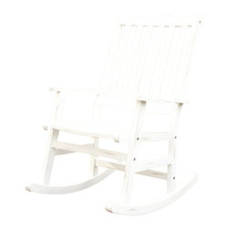 Home Styles - Home Styles Bali Hai Outdoor Rocking Chair in White - Home Styles - Rocking Chairs - 5660582 - Create an island oasis on your porch or patio with a Home Styles Bali Hai Outdoor Rocking Chair. Showcasing an island inspired design in a versatile washed white weathered rubbed finish and construction of eco-friendly plantation grown Shorea wood which is known for its exceptional durability and natural resistance to water this rocking chair is designed to provide endless hours of outdoor entertainment use. Curved back and contoured seat provides excellent support and imparts a slightly modern touch to the overall traditional slat design.Features:     Constructed of Eco-Friendly plantation grown Shorea Wood     Washed white weathered rubbed finish     Curved back and contoured seat     Stainless steel hardware     Island inspired design