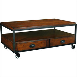 "Hammary - Baja Rectangular Storage Cocktail Table in Vintage Umber Finish - ""From a million forgotten attics and sleepy antique stores, we rescued the beauty and charm of another era -early 20th-century industrial America."