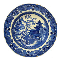 Lavish Shoestring - Consigned 5 Blue and White Plates Burleigh Ware, Vintage English - This is a vintage one-of-a-kind item.
