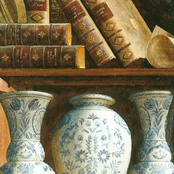 Painting Bookshelves. Artist Sergey Konstantinov. - Artist Sergey Konstantinov. Painting Bookshelves. 18/43 in. Oil - board . 24 Karat Gold frame. 1999. Ann Getty House Collection.