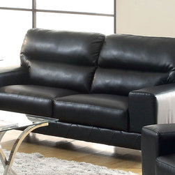 Coaster - Benjamin Black Bonded Leather Love Seat - Create a casual yet sophisticated living room with this generously cushioned sofa collection. High split back cushions and sleek bonded leather match fabric will to last for years without losing appeal. Chrome accented legs and high resilience foam seating ensure this sofa is built to bring you lasting support. This collection is offered in three upholstery colors: black, grey or white.