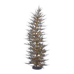 "Vickerman - Champagne Laser 70CL 608T (4' x 19"") - 4' x 19"" Champagne Laser Tree 70 Clear Mini Lights 608 PVC tips, with metal base."