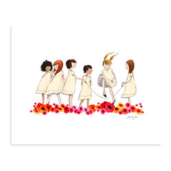 "Sarah Jane Studios - Poppies, 11""x14"" - Sarah Jane's vintage-style drawing of girls skipping rope has a timeless quality, like a picture of universal childhood. The bright row of poppies below adds an unexpected pop of modern color, contrasting with the uniform simplicity of the girls' dresses. Hang this print among light, neutral colors to give the girls a fresh, open breathing space; the poppies will make sure that the print stands out from your wall."