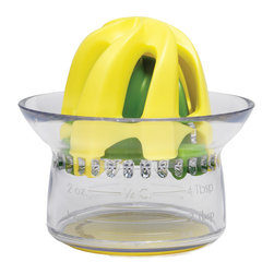 Chef'n Juicester Jr. 2-in-1 Citrus Juicer - Meet the Chef'n Juicester Jr.  the smallest  most convenient juicer from Chef'n yet.  Two reamers and clearly marked measurements make this mini juicer perfect for adding freshness to any recipe or drink. Good cooking or good drinks  better make it two!  Product Features      Mini juicer perfect for cooking   Cup collects and measures juice   Teeth strain pulp and seeds   Reamers snap onto cup for storage   Top-rack dishwasher safe