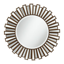 "Lamps Plus - Contemporary Golden Sunburst 30"" Round Wall Mirror - Add style and interest to your home decor with this sunburst wall mirror design. It comes with a dark gold finish around the mirrored frame. In a refined detail the center mirror features a beveled edge. MDF frame construction. Dark gold finish. Beveled mirror edge. Round center mirror is 17 3/4"" wide. 30"" round. Hang weight 20 1/2 lbs.  MDF frame construction.  Dark gold finish.  Beveled mirror edge.  Round center mirror is 17 3/4"" wide.  30"" round.  Hang weight 20 1/2 lbs."
