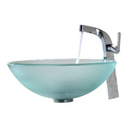 Kraus - Kraus Frosted Glass Vessel Sink and Typhon Faucet Chrome - *Add a touch of elegance to your bathroom with a glass sink combo from Kraus