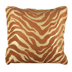 Brandi Renee Designs - BRD Original Gold & Bronze Chenille Zebra Pillow - Our BRD original pillow is made in an exotic cream and bronze chenille oversized zebra print with metallic golden bronze accents in a contemporary shape. This will be a perfect accent on a sofa or bed.