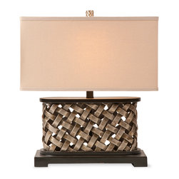 iMax - Ramsey Table Lamp - With a wide rectangular shape, the Ramsey table lamp has a champagne finished woven design topped with a rectangular shade.