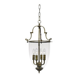 "Crystorama - Country - Cottage Camden Collection 22 1/4"" High Bell Jar Lantern Chandelier - With a subtle presence this lantern is just lovely with traditional style and a dignified appearance. The autumn brass look is matched with graceful accents and a chain pendant. Antique brass finish. Bell jar glass. Takes four 60 watt candelabra style bulbs (not included). 12 3/4"" wide. 22 1/4"" high.  Antique brass finish.  Bell jar glass.  Takes four 60 watt candelabra style bulbs (not included).  12 3/4"" wide.  22 1/4"" high."