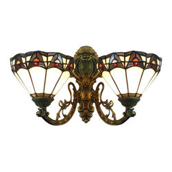 Blue 2 Lights Tiffany Wall Sconces Indoor Lamps - This two light Tiffany style wall sconce has a magnificent and exquisite look that embodies superb craftsmanship and unique design. In addition to its decorative functions, it also offers warm and comfortable glow. Perfect for using in hallways, stairway or corridors to light up your room with an artistic touch.
