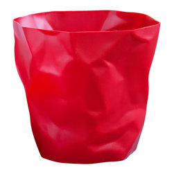 Essey of Denmark - Essey Bin Bin Wastebasket by Essey of Denmark - Red - This international award-winning waste basket was designed by John Brauer to look like the crumpled paper that it is intended to hold. It is made in Germany of hard polypropylene. The waste basket measures about 13 x 13 inches. Bin Bin has inspired a line of other crumpled paper-look products: Pen Pen, a miniature Bin Bin, that serves as a pen and pencil holder, Wipy cube tissue box holder, and Wipy II long tissue box holder. Each of these Essey products comes in white, red, and black.