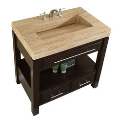 """Silkroad Exclusive - 36 Inch Modern Single Sink Bathroom Vanity - This 36 inch modern single sink bathroom vanity is a perfect center piece for your bathroom project.  This espresso bathroom vanity features 3 drawers and a travertine counter top with an integrated sink that is pre-drilled for a standard 8 inch spread 3-hole faucet (faucet not included). Large opening in back for easy plumbing installation.  Dimensions: 36""""W X 23""""D X 36""""H (Tolerance: +/- 1/2""""); Counter Top: Travertine; Finish: Espresso - (Very Dark Brown - Can Appear Black in Certain Lighting); Features: 3 Drawers; Hardware: Brushed Nickel; Sink(s): 21 1/8"""" X 12 3/8"""" X 4 7/8 - 5"""" (NO Drain Plug); Faucet: Pre-Drilled for Standard Three Hole 8"""" Center (Not Included); Assembly: Fully Assembled; Large cut out in back for plumbing; Included: Cabinet, Sink; Not Included: Faucet, Backsplash."""